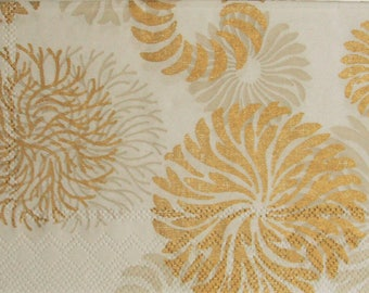 Set of 3 paper napkins HOD109 Arabesques and gold stylized flowers and