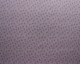 42 X 118 Purple Green and White Geometric Print Cotton Fabric Remnant