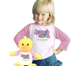 Customized Name T-Shirt With Plush Duck Wearing a Matching Mommy's Cutie Shirt Toddler Gift Set