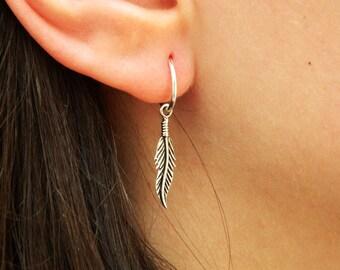 Feather Sterling Silver Hoop Earrings - Silver Hoop Earrings - Tiny Hoop Earrings,Hoop Earrings - Small Hoop Earring - Silver Hoop Tiny,023H