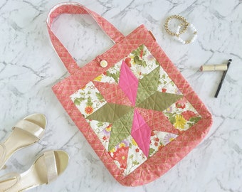 Patchwork Bag Pink Green Gold Shoulder Bag, Gift for Mum Pretty Tote Bag Boho Everyday, Beach Bag, Quilted Bag One of a Kind