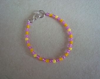 Pink and yellow bracelet for girl