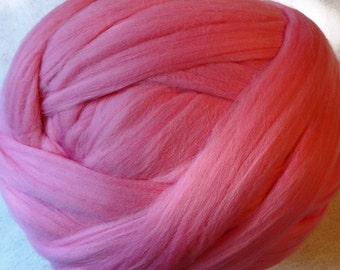 Roving Merino Wool for Spinning or Felting - Flamingo - 8 oz - pink wool roving, pink merino roving