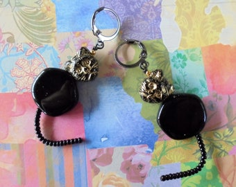 Black and Gold Kitty Cat Earrings (4276)