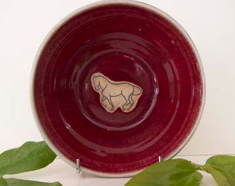 Dressage, piaffe horse pottery bowl, red