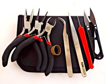 8 Pc Tool Kit, Plier Tool Kit, Jewelry Plier Set, Set of 3 Pliers, Jewelry Making Kit Tool Set, Canvas Plier Case Set of 8 Tools, UK Seller