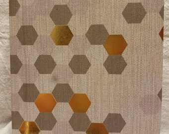 Gold, Purple and Gray Honeycomb Pattern Hardcover Journal