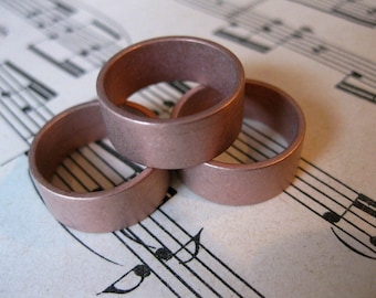 1 PC Solid copper heavy gauge ring band 8mm wide / SZ 6 - VV15
