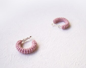 Small Pink Hoops Crochet Earrings, Pale Rose Earrings Minimalist Hoops, 1 inch hoop earrings, Everyday Jewelry Gift for Her