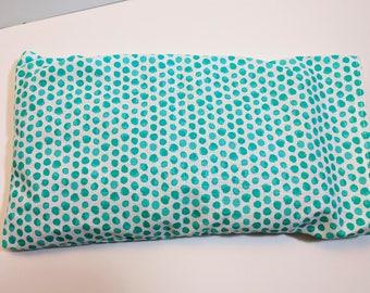 Aromatherapy Eye Pillow - Herbal Eye Pillow - Teal Splash Polka Dot Eye Pillow with Cover - Flax Seed Eye Pillow - 11x6 - Large Eye Pillow