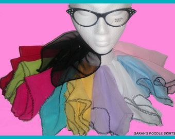 Super cute 50's style Chiffon Scarf for your Poodle skirt Your choice of size and color