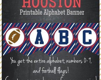 Football Printable Alphabet Banner HOUSTON Colors - Instant Download