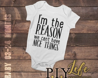 Kids    I'm the reason we can't have nice things Kids Bodysuit DTG Printing on Demand