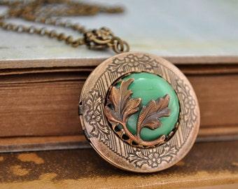 antiqued brass jade locket, evergreen, antiqued brass locket, jaded Swarovski jade color vintage glass cab, EVERGREEN, leaf necklace