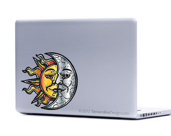 Sun and Moon Vinyl Laptop Decal | sun decal moon decal macbook decal laptop sticker iphone decal celestial decal sun and moon sticker