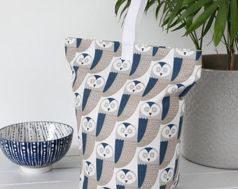 Blue Fabric doorstop Owl print fabric door stop stopper