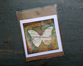 SALE! Butterfly card, Butterfly Art, Whimsical Butterfly, Sale Card, Clearance Card, greeting card, note card, Mixed Media Art