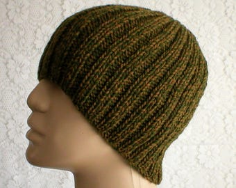 Olive green gold tweed beanie hat, skull cap, ribbed beanie, wool hat, mens womens knit hat, toque, green gold hat, beanie hat, biker hiking