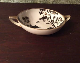 Vintage Porcelain Nippon Hand Painted Bowl with Handles