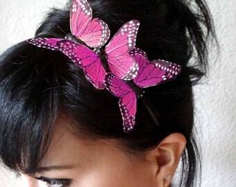 pink butterfly headband - feather butterfly headpiece - bridal headband - hair accessories for women - bohemian hair accessory - BRANDY
