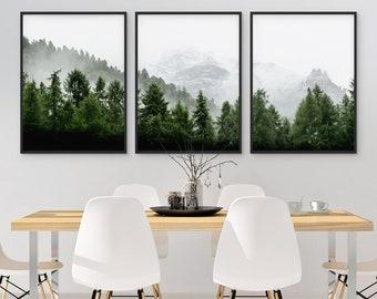Set of 3 Forest Print, Set of 3 Landscape Art, Green Forest Printable, Nature Printable, 3 Piece Wall Art, Modern, Minimalist, Misty, Decor