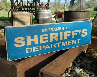 """Distressed Primitive Country Wood Sign - Your Name Sheriff's Department  5.5"""" x 19"""""""