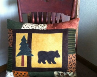Bear pillow lodge cabin flannel