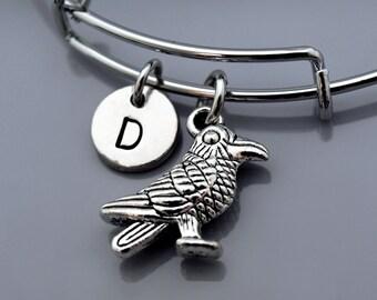 Raven bangle, Raven bracelet, Bird charm, Expandable bangle, Personalized bracelet, Charm bangle, Monogram, Initial bracelet