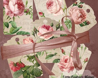 Shabby Vintage Roses Tags printable gift tags scrapbooking digital graphics instant download  crafting digital collage sheet