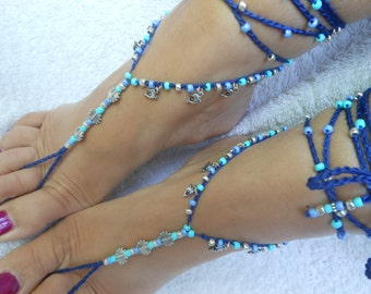 Crochet Barefoot Sandals Beach Wedding  Yoga Shoes Foot Jewelry Silver  Blue