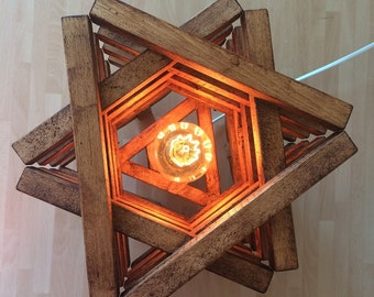 Rustic Floor Lamp Rustic Light Wood Oak Star Shape Handmade Light Rustic  Lighting
