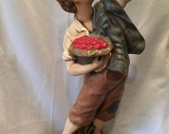 "20"" FIGURINE Boy Eating Cherry Lamp Base HANDPAINTED"