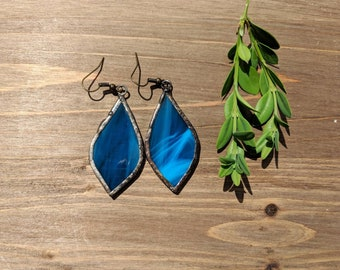 Blue stained glass leaf earrings