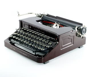 Smith Corona Antique Typewriter - Rare Maroon Color -  Beautiful Corona FlatTop - Reconditioned, Working, Excellent Condition Typewriter