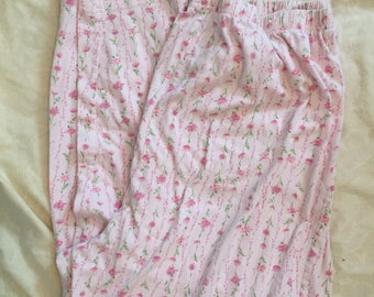 Vintage Cotton Lounge Pants Pink Stripe Floral Size Large  Womens Cotton Sleep Pants Vintage Pyjama Lounge Pants Cotton Jersey Knit Pants