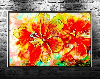 Lewisia flowers original abstract painting. Lewisia flowers original art digital download. Abstract flowers Lewisia flowers.