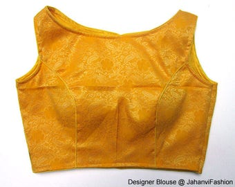 Readymade saree blouse - boat neck sari top with cotton based self embroidery fabric, Available in major sizes Sari Blouse, Saree Top