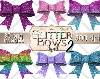Glitter Bows clipart set 2, glitter bows digital planner stickers, baby shower clipart, birthday party invitation clipart, commercial use