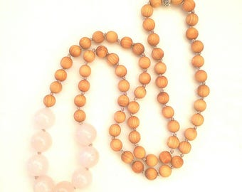 Sandalwood, rose quartz and hill tribe silver hand beaded necklace