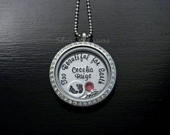 Floating Locket / Mommy of an Angel too beautiful for earth / Remembrance Jewelry