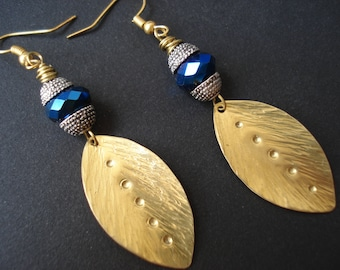 Hammered Bronze Leaf Blue Czech Crystal Bead Contemporary Earrings Metalwork and Crystals Unique Handmade Earrings
