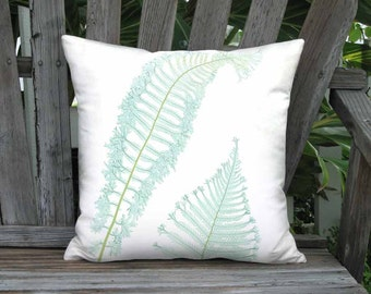 18x18 Inch READY TO SHIP - Sea Glass Fern Pillow - Sea Glass Aqua Fern Sea Glass Green Beach Pillow Cover - Linen Cotton Cushion Cover