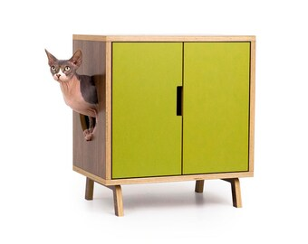 """Mid Century Modern Cat Litter Box Furniture   SMALL Cat Litter Box Cover   Pet House   MCM Walnut Side Table   """"The MINI Cabinet"""""""