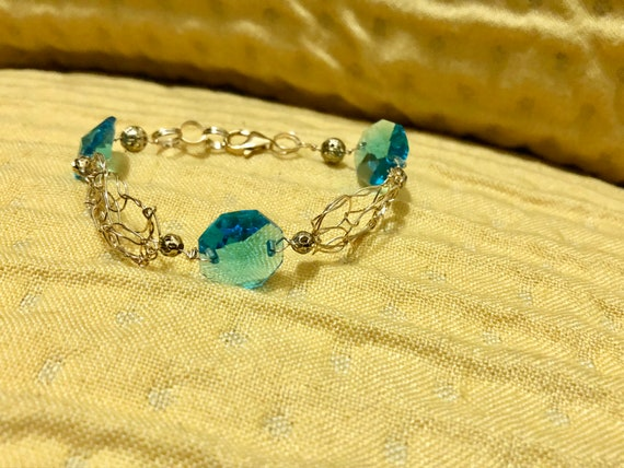 SJC10297 - Handmade 14K gold filled wire crochet and chain bracelet with blue crystal prisms from a chandelier