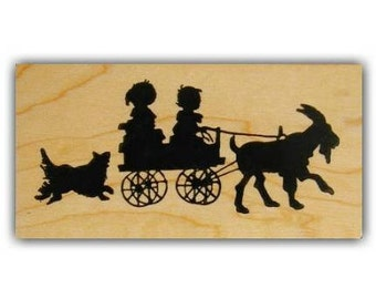 Children in Goat Cart silhouette lg mounted rubber stamp barnyard animal, summer fun, farm life, Sweet Grass Stamps No.1