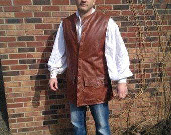 Leather jerkin, reenactment, pirate, knight, warrior, larp, sca, costume,