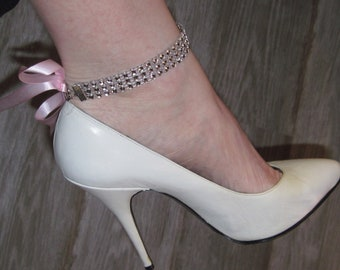 """8.5"""" Rhinestone anklets with ribbon!"""