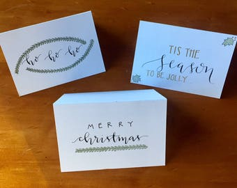 christmas set / custom calligraphy cards