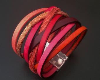 Winter vitamins, multi-links, magnetic clasp Leather Bracelet