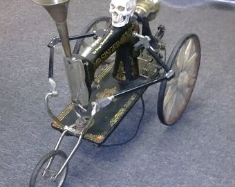 steampunk skull sewing machine trike lamp